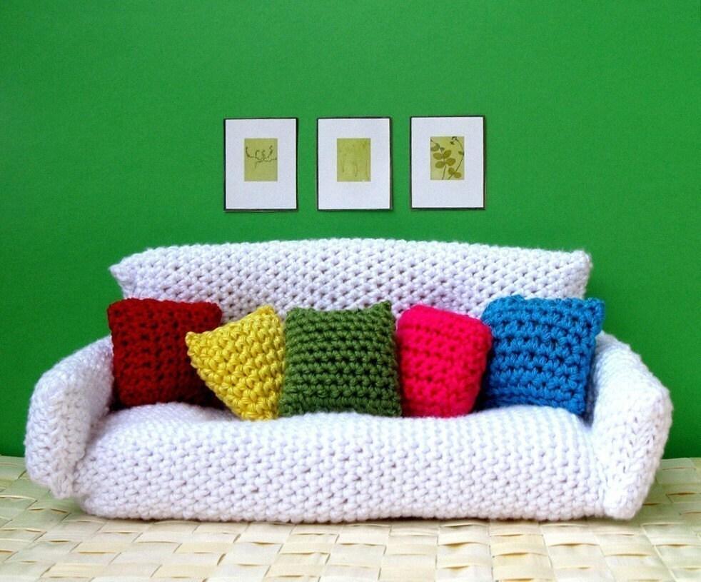Amigurumi Doll Furniture : Sofa Bed with Cushions Amigurumi CROCHET PDF PATTERN