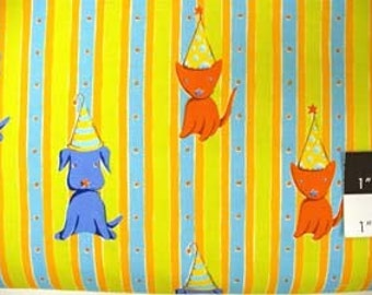 CLEARANCE Felicity Miller Cat and Dog Stripe Orange Cotton Fabric 1 Yard