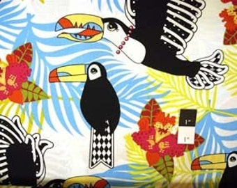 Luella Doss LD28 Jungle Fever Lonely Toucan Ivory Cotton Fabric 1 Yd