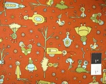 CLEARANCE Jay McCarroll JY05 Garden Friends Love Birds Rust Cotton Fabric 1 Yard