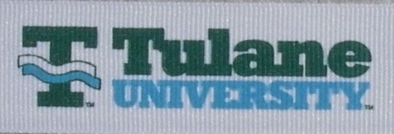 "Tulane University Green Wave Retro 7/8"" Grosgrain RIBBON 1 yard"