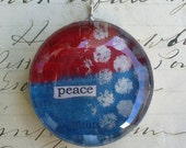 peace - bold round soldered art pendant FREE SHIPPING
