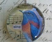 Bird Sing - bold round soldered art pendant FREE SHIPPING