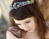 RESERVED for lelllen - Multicolored flower tiara, butterflies, Swarovski crystals