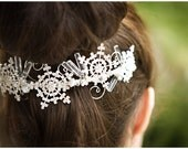 Wintry Mix comb - rhinestone snowflakes, swarovski crystals, white glass pearls, freshwater pearls - silver