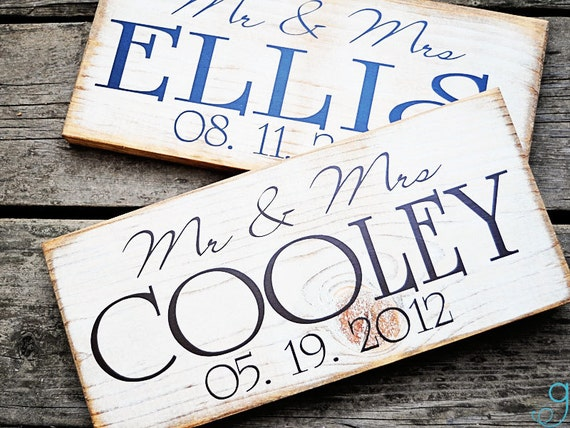 Personalized Mr. and Mrs. Wedding Day Sign Add Last Name and Wedding Day