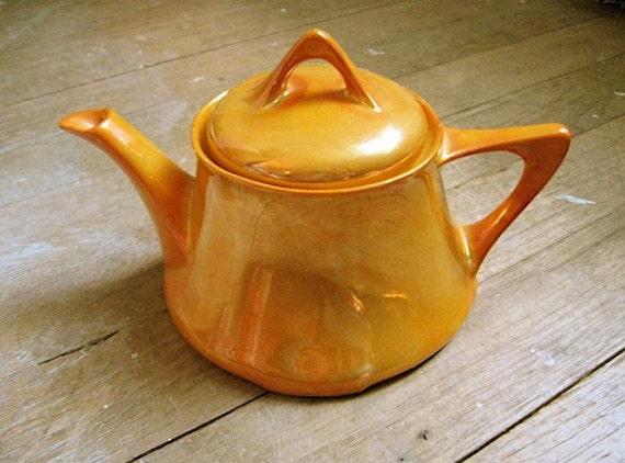 SPRING SALE Tangerine Deco Lustre Teapot Antique Bavarian