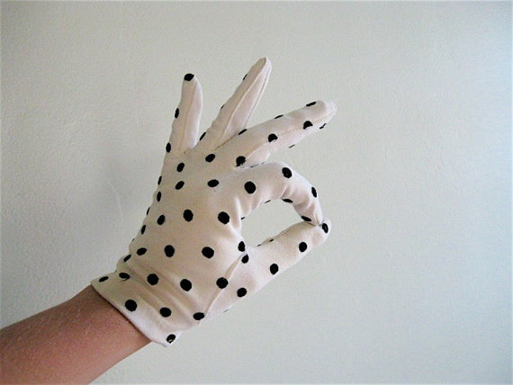 1950s Black and White Polka Dot Gloves.
