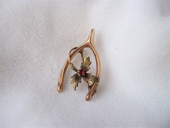 RESERVED Antique Victorian 10K Gold and Ruby Wishbone Brooch.