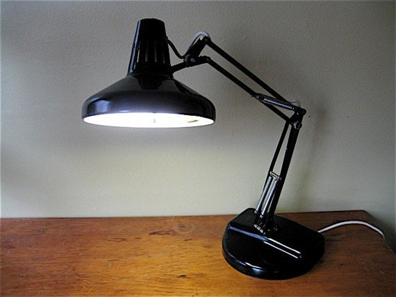 Beautiful Vintage Black Luxo Metal Desk Lamp Fluorescent