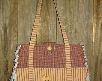 Large, Rag Quilted, Purse with Applique, E Pattern, PDF, Digital Downloadable Pattern