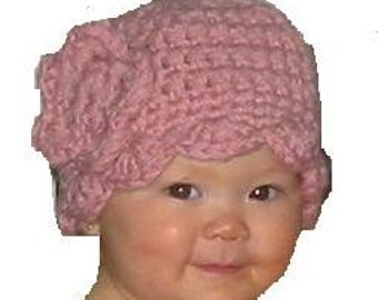Mama and Me, Crocheted Cloche with Ruffle and Rose Epattern,  Downloadable Digital Pattern