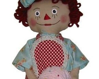 Retro, Raggedy Annie, Bag Doll with Muffin and Apron, Epattern, PDF, Downloadable Digital Pattern