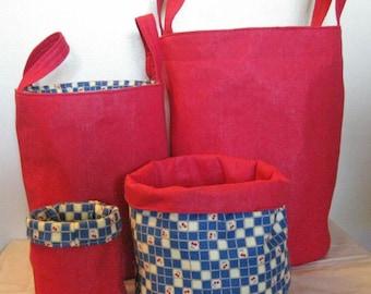 Fabric Baskets Epattern,   4 sizes Round Baskets,  Reversible, PDF, Downloadable Digital Pattern