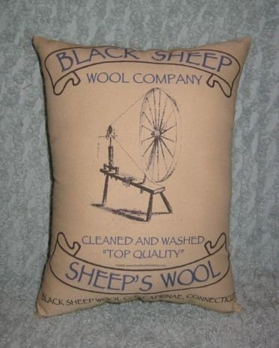 Sheeps Wool Reproduction Feedsack Pillow