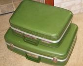 Sale Vintage Green Suitcases Set