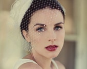 Victorian Wedding Veil, Ivory Birdcage Blusher with Crystal, Feather Fascinator, Bridal Headpiece, Silk Flower, Bridal Hat, Pick your Colors