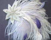 Feather Fascinator, Weddings, Hair Accessory, Bridal Head Piece, Hair Clip, Ivory White, Purple, Beaded Star, Batcakes Couture