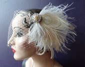 Bridal Veil, Peacock Feather Fascinator, Birdcage Veil, Hair Accessory, Wedding Head Piece ,White Peacock, Pearl, Batcakes Couture