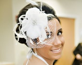 Weddings, Ivory White, feather hair accessory, Silk Handmade Flower, Fascinator, Bridal Headband, Batcakes Couture