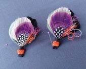 2 Peacock Feather Boutonniere Set, Lapel Pin, Groom, Groomsmen, Weddings, Men, Black, Ivory, Purple, Green, Orange, Batcakes Couture