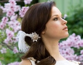 Swarovski Crystal Feather Fascinator, Bridal Head Piece, Ivory White, Ostrich Feather, Hair Accessory, High Fashion, Batcakes Couture