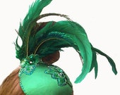 Women's hat, feather fascinator, Wicked Green Satin with Real Swarovski Crystals ANY COLOR you choose - Batcakes Couture