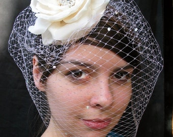Weddings, Ivory Birdcage Veil, Victorian Silk Rose Bridal Hat, Swarovski Crystal Veil, Fascinator - Batcakes Couture