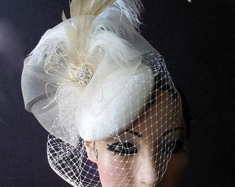 Fantastic Sculptural Unique Bridal, Cocktail Hat, Crystal Birdcage, Blusher Veil, Ivory,White, Champagne, Batcakes Couture