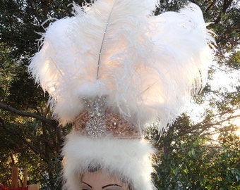 Showgirl Headdress, Head Dress, Ivory White Feathers, Retro, Goddess , Feather Headdress, Custom Colors Available , Batcakes Couture