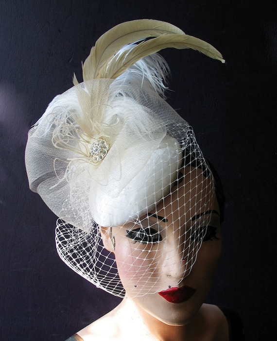 Fantastic Sculptural Unique Bridal, Cocktail Hat, Crystal Birdcage, Blusher Veil, Ivory,White, Champagne, Batcakes Couture