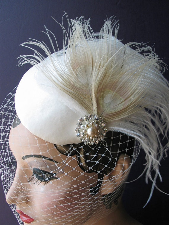 Weddings, Ivory Birdcage Veil, Bridal Hat, White Peacock, Feather Fascinator, Pearl, Crystal Center - Batcakes Couture