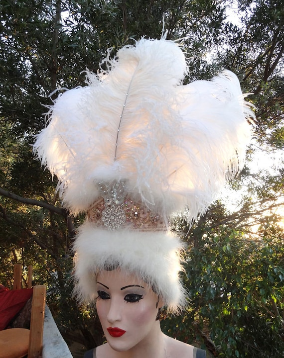 Showgirl Headdress, Head Dress, Ivory White Feathers, Retro, Goddess , Feather Headdress, Custom Colors Available , Batcakes Couture