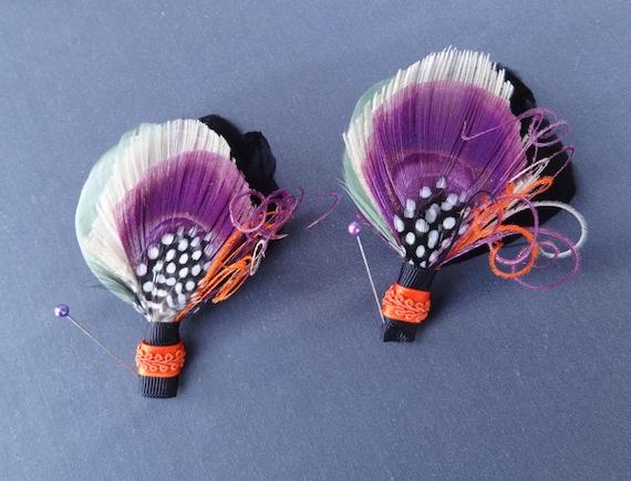 2 Peacock Feather Boutonniere Set, Lapel Pin, Groom, Groomsmen, Weddings, Men, Black, Ivory, Purple, Green, Orange, Batcakes Couture