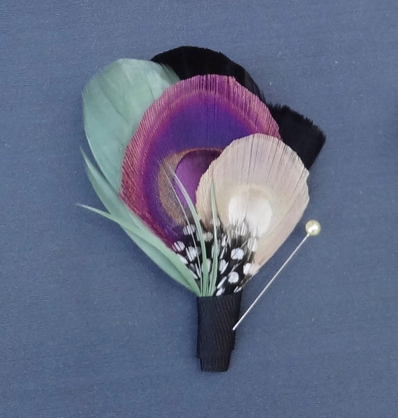 Ivory White Peacock Feather Boutonniere, Lapel Pin, Purple, Pale Green, Groom, Groomsmen, Black, Ivory, Blue, Batcakes Couture