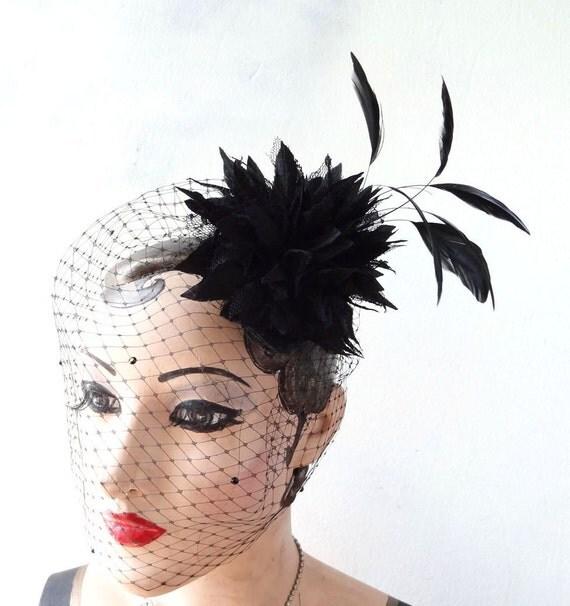 Black Birdcage Veil, Halloween Bridal Head Piece, Black Feather Fascinator,Swarovski Crystal Dotted Veil. Hair Accessory, Flower Head Piece