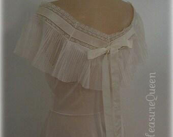 Crystal Dream Vanity Fair Pleated Sheer Gown  50s Vintage