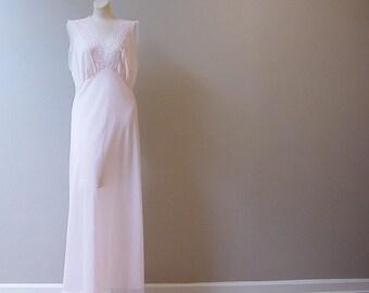 Pink Mist Sheer Long Gown 50s Vintage Large