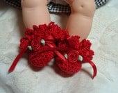 Ruffly Ruffle Crochet Booties fits Vogue Ginnette Doll Handmade USA