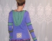 Intuition - Hemp and Organic Cotton - Flower of Life - Sacred Geometry Eco Gypsy Patchwork Hippie Hoodie with Thumbholes