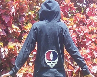Custom Grateful Dead Steal Your Face Appliqued Ecofriendly Hoodie