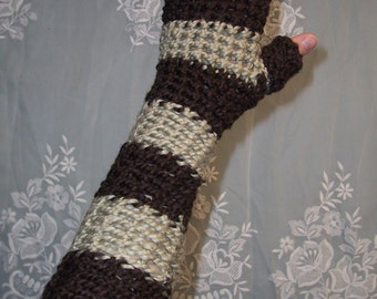 Organic Cotton - The Long and Winding Road - Hand Crocheted Gypsy Fingerless Gloves or Handwarmers With Thumbholes