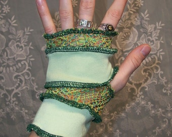 Woodland Misfit Ecofriendly Patchwork and Crocheted Gypsy Fingerless Gloves or Handwarmers With Thumbholes