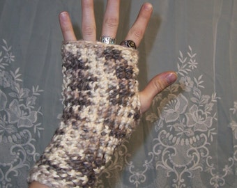 Organic Cotton Hand Crocheted - Winters Camo - Gypsy Fingerless Gloves or Handwarmers With Thumbholes