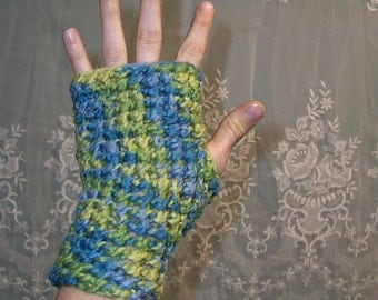 Organic Cotton - Positive Vibrations - Gypsy Fingerless Gloves or Handwarmers With Thumbholes