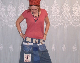 Grateful Dead Family Tree - Hemp - Vintage Lace - Eco Denim Patchwork Gypsy Traveler Skirt with Pockets and Belt