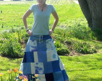 The Art of Happiness- Hemp and Organic Cotton - Zen Buddha - Eco Gypsy Traveler - Patchwork Hippie Adjustable Spinners Skirt