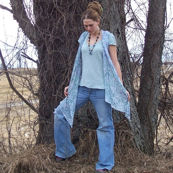 Wrapped in Nature -  Earths Blanket -  Gypsy Patchwork Hippie Eco Hoodie - Sleeveless Hand Dyed Wrap Shirt - Vintage Lace RESERVED for Lori