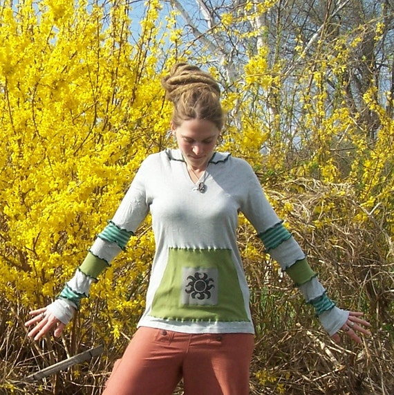 enLIGHTenMEnt - Hemp and Organic Cotton - SHINE from Within - Flower of Life - Sacred Geometry Eco Gypsy Patchwork Hippie Hoodie with Pocket