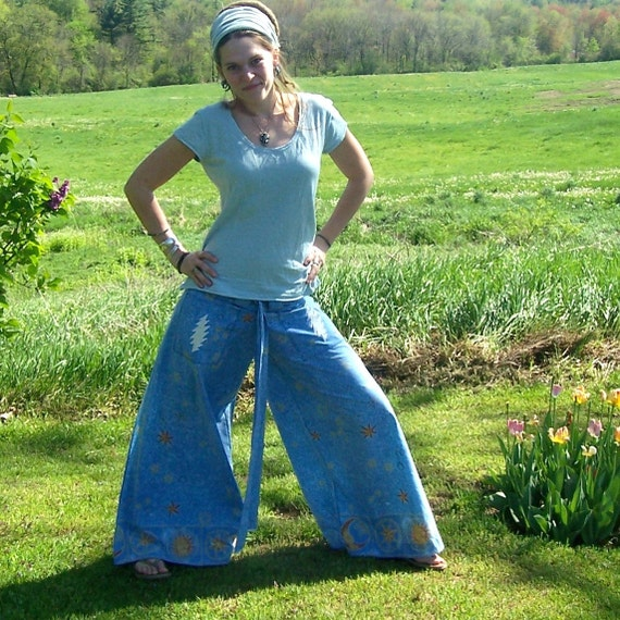 Standing on the Moon - Grateful Dead Ecofriendly Gypsy Traveler - Wide Leg Wrap Pants with Pockets - Sun - Moon - Stars